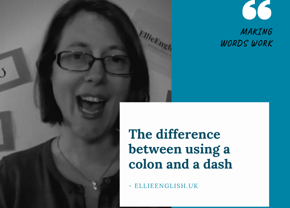 The difference between a colon and a dash.